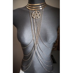 "Collier doré belly dance Indian Dream Gypsy Boho Chic pentagram ""666"""