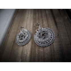 """Boucles d'oreilles argentées goth """"666 Pentagram 666"""""""