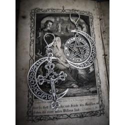 """Boucles d'oreilles argentées goth lune crucifix """"666 Pentagram 666"""""""