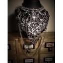 Collier maxi plastron lune argenté goth pentagram ♰666 Horus 666♰