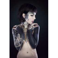 "Collier doré belly dance Indian Dream Gypsy Boho Chic pentagram ""666"""