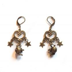 Boucles d'oreilles bronze Alice aux pays des merveilles