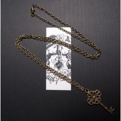 Collier sautoir bronze clef steampunk