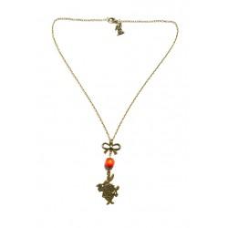 Collier bronze perle rouge lapin alice aux pays des merveilles