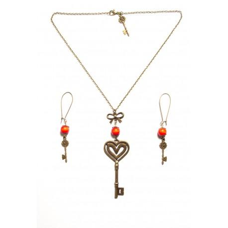 Collier perle rouge bronze clef coeur alice aux pays des merveilles