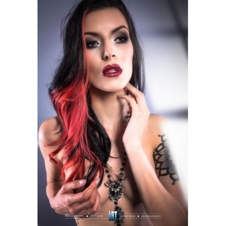 Chapelet rosaire perles noires argenté Les 7 péchés capitaux ♰ Orgueil ♰