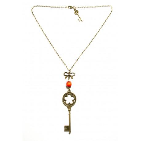 Collier perle rouge bronze clef alice aux pays des merveilles