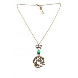 Collier bronze perle verte breloques alice aux pays des merveilles