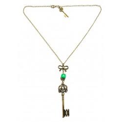 Collier bronze perle verte clef alice aux pays des merveilles