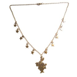 Sautoir bronze étoiles et lapin Alice aux pays des merveilles