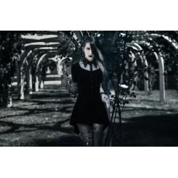 Collier plastron cuir argenté goth punk calavera dia de los muertos ♠Vampire Bat Skull♠
