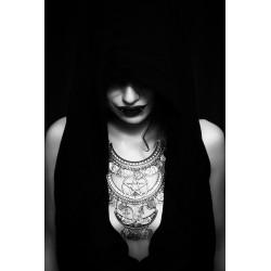 Collier maxi plastron double lune argenté ankh pentagram ♰666 Devil Catcher 666♰