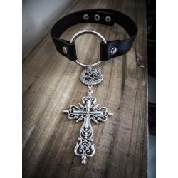 Collier cuir vegan coeur argenté crucifix nu goth ♠ 666 Pentagram 666 ♠