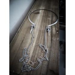 Collier chaines argenté goth ♰Skullbirds♰