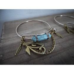 Bracelet doré égyptien pierre turquoise lune ♰Horus♰