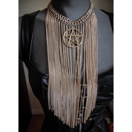 Collier plastron doré chaines belly dance pentagram 666