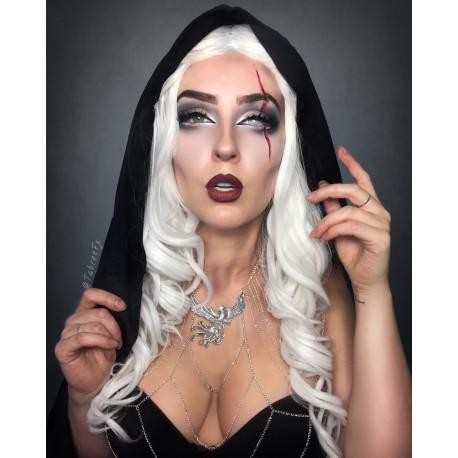 Collier argenté armure belly dance goth crucifix ♰ 666 Tabree 666 ♰