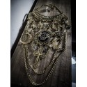 "Collier maxi bronze doré vieilli plastron lune Indian Dream Gypsy Boho Chic ""Punk Matrioska"""