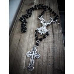 """Chapelet rosaire argenté deer cross gypsy bohème """"Sinner"""""""
