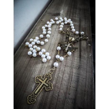 """Chapelet rosaire ivoire doré deer cross gypsy bohème """"Saint"""""""