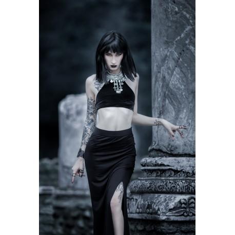 Créoles tribales dorées pentagram nu goth moon ☥ Wicca ☥
