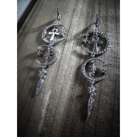 Boucles d'oreilles argentées Glam and Shine Lune Ankh