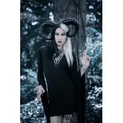 """Créoles argentées goth pentagram """"666 Goth Crucifix 666"""""""