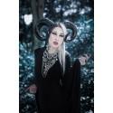 Collier maxi plastron lune argenté goth pentagram ♰666 Baphomet 666♰