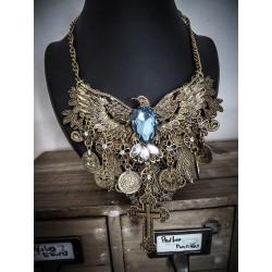 "Collier bronze doré vieilli plastron dentelle Indian Dream Gypsy Boho Chic «Blue Egyptian Phoenix"""