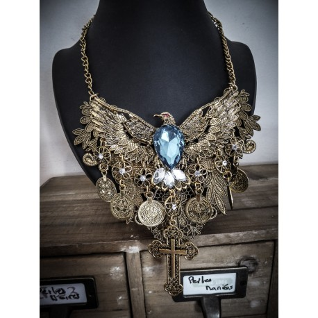 Collier bronze doré vieilli plastron dentelle Indian Dream Gypsy Boho Chic « Blue Egyptian Phoenix""