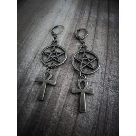 "Boucles d'oreilles bronze goth pentagram ""666 Ankh 666"""