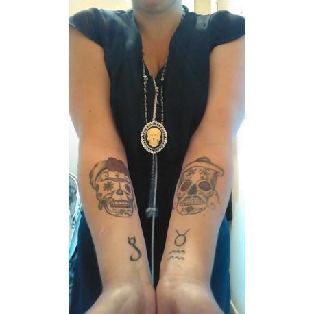 "Chapelet rosaire perles noires camée femme Mexican Sugar Skulls calavera gypsy bohème ""Ghost Rider"""