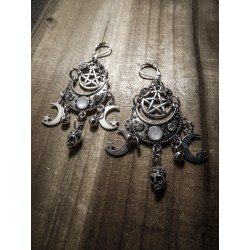 Boucles d'oreilles skully 666 Wicca Moon 666