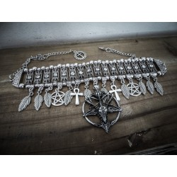 "Collier argenté ras de cou strass glam and shine ""666 Baphomet 666"""