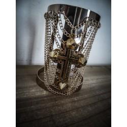 """Manchette dorée chaines croix """" Spiky Cross """""""