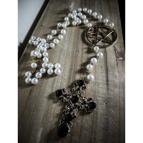 Chapelet perles ivoires pentagram 666 Santa Cruz 666