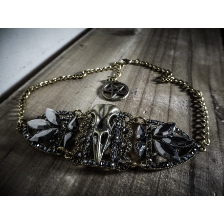 "Choker bronze strass ras de cou glam and chic ""Skullbird"""