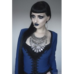 "Collier strass argenté croix scarabeo ""Goth Egyptian Queen"""