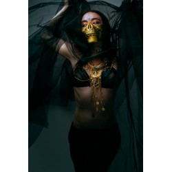 Collier doré armure belly dance goth egyptian ankh ♰ 666 Phoenix 666 ♰