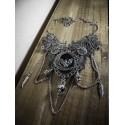 Collier plastron argenté steampunk chauve souris vampire Dracula