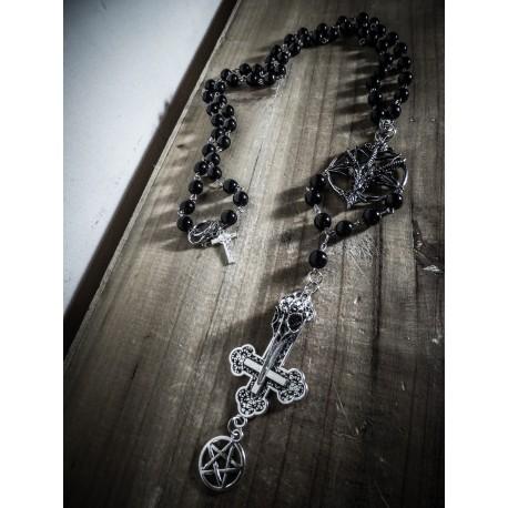 Chapelet rosaire Inverted Cross Skullbird Baphomet