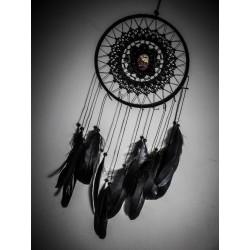 Attrape rêve noir plumes skull Gothika