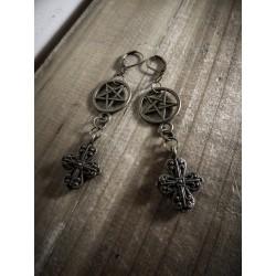 Boucles d'oreilles bronze 666 Cross 666