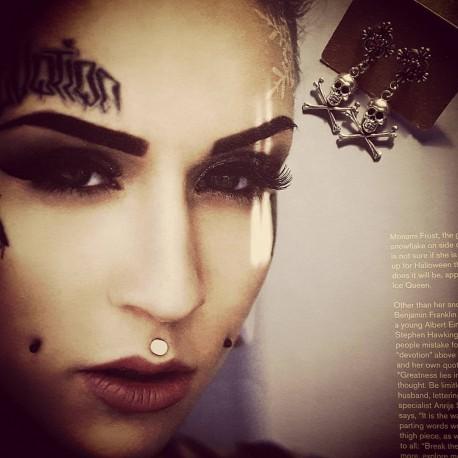 Boucles d'oreilles argentées Skull Pirate ♰MC Ink♰