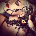 "Collier plastron bronze camee rose Calavera Skull "" Gothika """