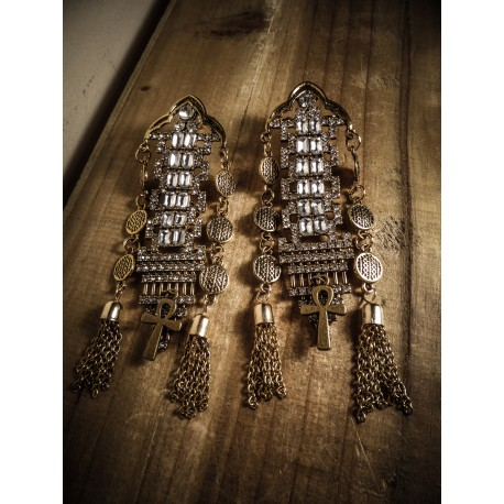 Boucles d'oreilles dorées bronze Ankh Goth Harem