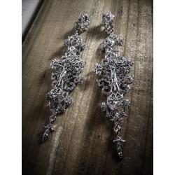 Boucles d'oreilles argentées dentelle Crucifix