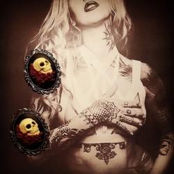 Broche argentée camée Mexican Sugar Skulls calavera gypsy bohème ♰Gothika♰