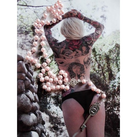 Chapelet rosaire perles rose et clef