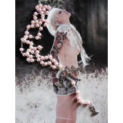 Chapelet rosaire perles rose papillon et petite robe
